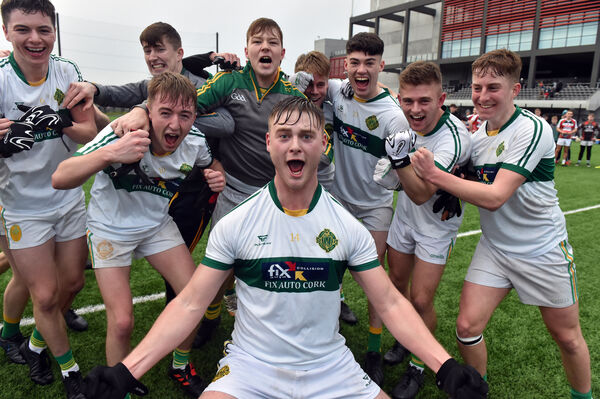 St Michael's Eoin O'Donovan leads the players in celebrations after defeating Ballincollig in the Cork County under 21 A FC final at Pairc Ui Chaoimh.Picture: Eddie O'Hare