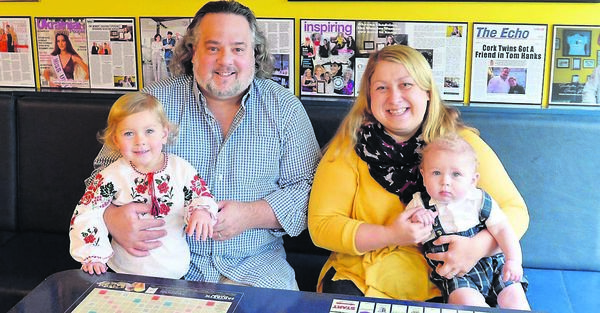 Oksana Shadrina with her husband Miceál O'Hurley and children Bláithnaid and Lorcán at their business, Fantastic Flavours ice cream parlour, Youghal. Picture: Denis Minihane