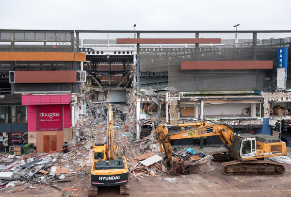 The Centre was forced to close when a car caught fire on the first floor of the multi-storey car park and quickly spread to other vehicles, resulting in extensive structural damage. Picture; David Creedon