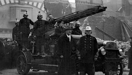 A unit of Cork fire brigade pictured in Patrick Street following the burning of Cork city centre by crown forces in 1920.