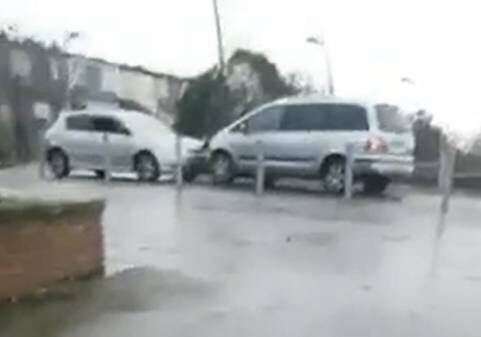 Cars ramming each other in The Glen area today.