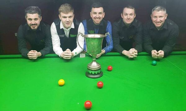 The Crucible league winning side, Ryan Cronin, Aaron Hill, Greg Casey, David Cassidy and Stephen Walsh.