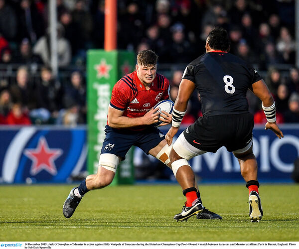 Jack O'Donoghue of Munster in action against Billy Vunipola. Picture: Seb Daly/Sportsfile