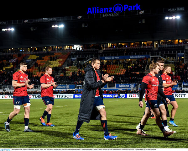 Tommy O'Donnell and his team-mates applaud the Munster fans. Picture: Seb Daly/Sportsfile