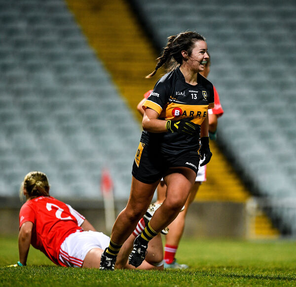 Laura Fitzgerald of Mourneabbey celebrates her late score. Picture: Eóin Noonan/Sportsfile