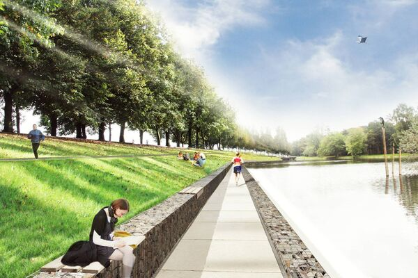 Artist's impression of the proposed Atlantic Pond and Marina Park.