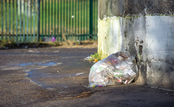A bag of rubbish left on Spring Lane in Blackpool, Cork today. Picture Dan Linehan