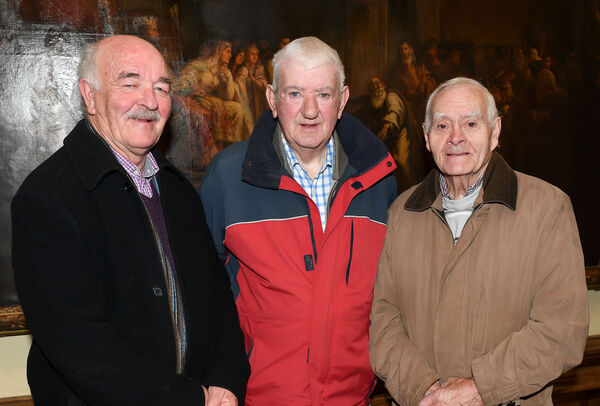 Fair Hill Men's Art Group members Tony Bevan, Danny Coakley and Con Dennehy, at the Crawford Art Gallery. Picture: David Keane.