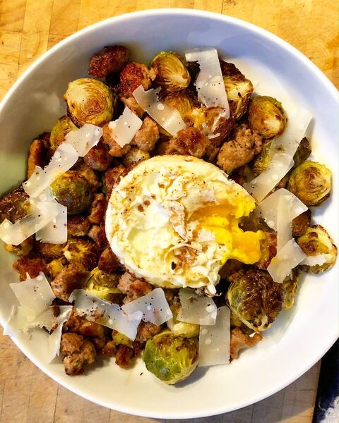Roasted Brussel Sprouts, Sausage Stuffing and Balsamic, by Kate Ryan.