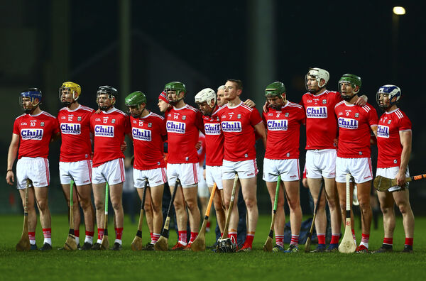 The Cork team stand for the national anthem. Picture: INPHO/Ken Sutton