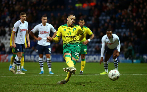 Norwich City's Adam Idah scores his side's fourth goal of the game from the penalty spot, completing his hat-trick during the FA Cup third round match at Deepdale, Preston.