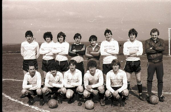 In April 1984, this Temple United team defeated Southend of Waterford 2-1 to reach the semi-final of the Munster Junior Cup for the first time ever. Back: Austin Ricken, Denis Keane, Dan Greene, Martin O'Sullivan, Anthony Ryan, Tony Kenney, John Magee and Pat Quirke; front, Frankie Thornton, Bertie Cullinane, Dommie Hussey, Ger Manning and Noel Greene. Picture: Billy Lyons