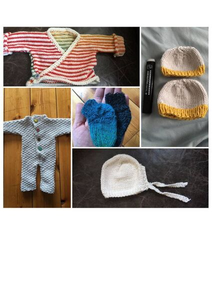 "A collage of the clothing that features in the exhibition. Families have made these for the babies as it's incredibly difficult to source clothes that are small enough for preemie babies.  One mum says as part of the project: ""I was pretty much on my own for most of the day, and then I took up knitting again. Thank god I know how to knit! That was my go-to then, to keep my mind occupied...I just started knitting baby clothes, really tiny baby clothes because I didn't know when baby would be born. I was able to concentrate on something, I had kind of purpose, like it gave me something to do and not just sit there doing nothing and waiting... it was just me, my head and the thoughts going around in my head and so the knitting gave me something to do to not feel completely useless."""