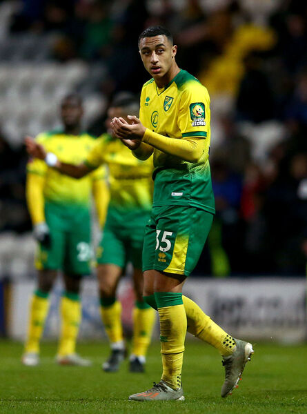 Norwich City's Adam Idah applauds the fans as he leaves the pitch after he is substituted during the FA Cup third round match at Deepdale, Preston. PA Photo.