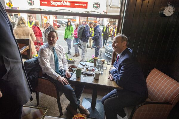 FF Leader Micheal Martin in Mc Carthy's Bar while canvassing in with local candidate James O'Connor in Youghal, Cork EastPic Michael Mac Sweeney/Provision