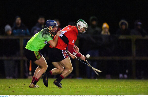 Shane Kingston of UCC in action against Shane Reck. Picture: Piaras Ó Mídheach/Sportsfile