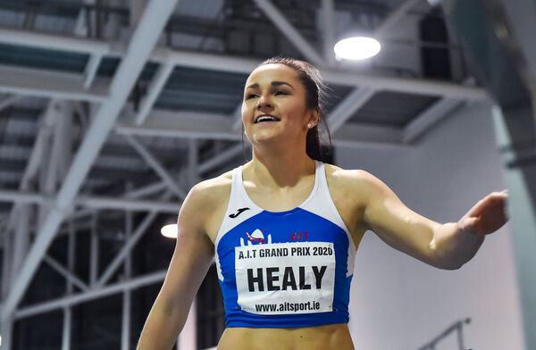 Phil Healy of Ireland after winning the final of the Hodson Bay Hotel Women's 200m event during the AIT International Grand Prix 2020 at AIT International Arena in Athlone, Westmeath. Photo by Sam Barnes/Sportsfile