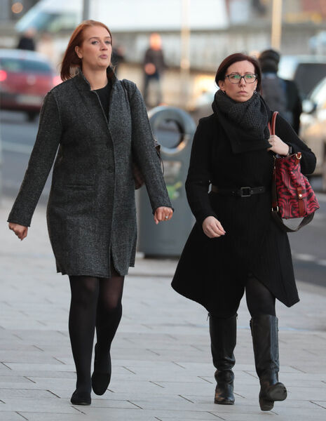 Emma Power and Lisa O'Driscoll pictured leaving the Four Courts after a High Court action.