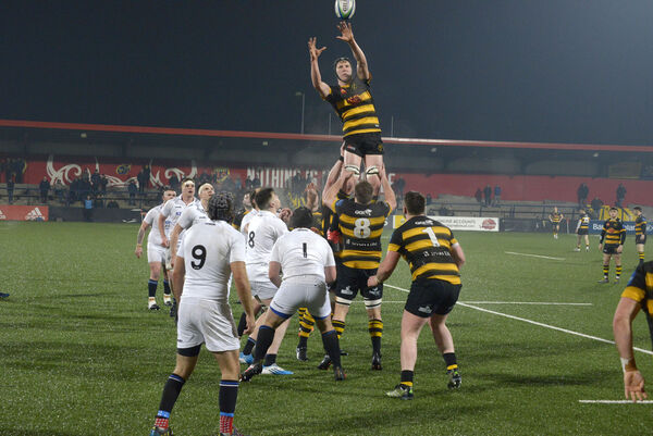 Young Munster's Sean Rigney taking the lineout. Picture: Denis Boyle