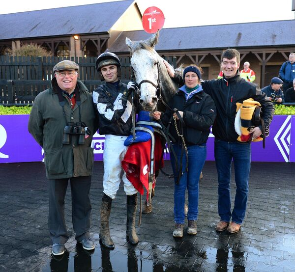 Rocky's Silver with David Kiely and Conor Orr, Phillipa Baird abd James Dullea after winning the Betdaq Handicap Steeplechase. Picture: Healy Racing