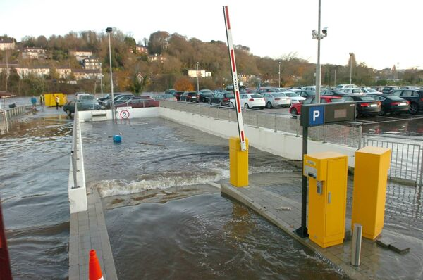 The entrance to the totally flooded underground car park at the Kingsley Hotel at Victoria Cross. Picture: Richard Mills