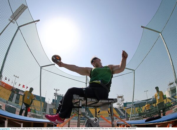 Orla Barry, from Ladysbridge, Co. Cork, competing in the discus final at Suhaim Bin Hamad Stadium. Picture: Marcus Hartmann / SPORTSFILE