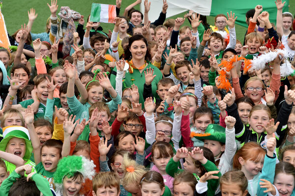 Delighted pupils surround Orla Barry the winner of a silver medal at the 2016 Rio Paralympics to St.Fergals National Schook in Killeagh, Co Cork. Picture: Dan Linehan