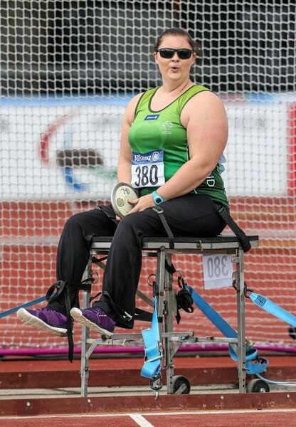 Orla Barry, from Ladysbridge, Cork, competing in the women's discus throw - T57 final, where she won silver with a throw of 28.13. 2014 IPC Athletics European Championships, Swansea University, Swansea, Wales. Picture credit: Steve Pope / SPORTSFILE