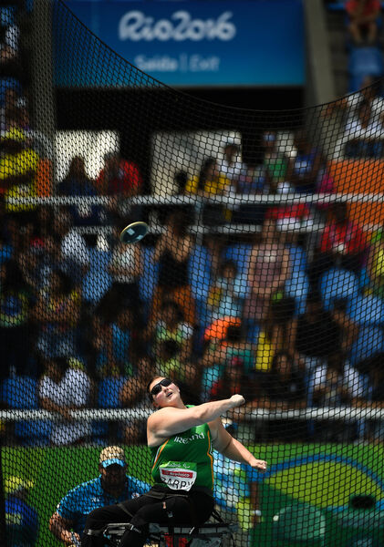 Orla Barry of Ireland in action during the Women's Discus F57 Final at the Olympic Stadium during the Rio 2016 Paralympic Games in Rio de Janeiro, Brazil. Picture: Diarmuid Greene/Sportsfile
