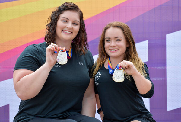 Orla Barry and Niamh McCarthy, with their silver medals during the 2017 Para Athletics World Championships Day 3 at the Olympic Stadium in London. Picture: Luc Percival/Sportsfile
