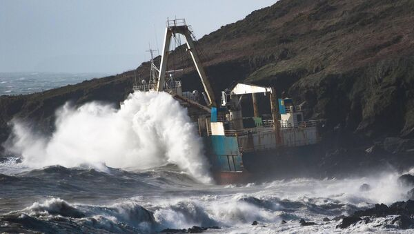 The MV Alta stranded on the rocks in Ballyandreen, near Ballycotton, Co Cork, during Storm Dennis. Picture: Gemma Kelleher