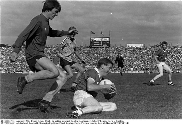 Dinny Allen playing for Cork against Dublin in 1983. Picture: Ray McManus/SPORTSFILE