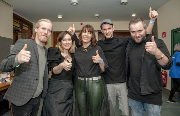 Gillian Kelleher (centre) of CUH and concert organiser with Walking On Cars band members Paul Flannery, Sorcha Durham, Patrick Sheehy and Evan Hodnett.