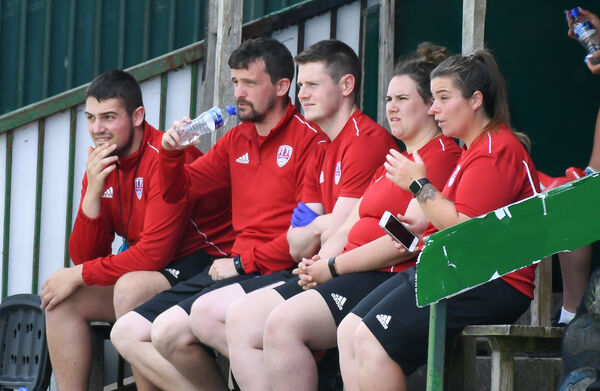 Cork City WFC management watching the team against Limerick. Picture: David Keane.