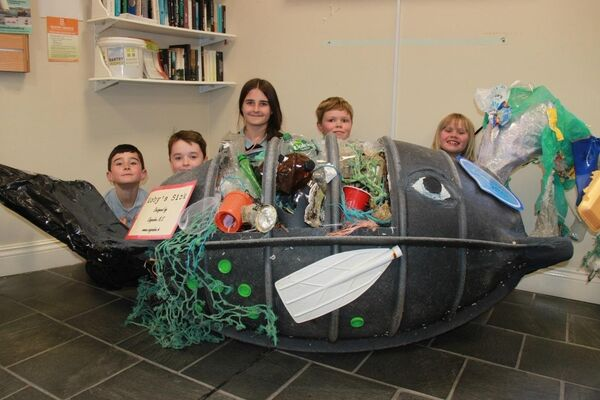 Cappabue National School pupils with their prize winning 3D installation 'Moby's Sick'.