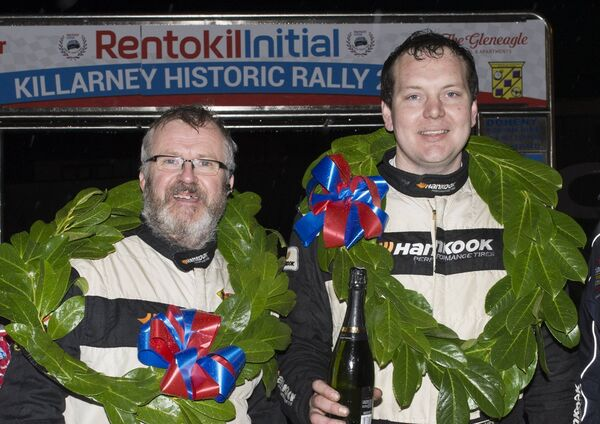 Ovens driver, Owen Murphy (right) took a Sunbeam Lotus to victory in the Rentokil-Initial Killarmey Historic Rally last year where he was co-driven by Askeaton's Anthony Nestor (left). Picture: Martin Walsh.
