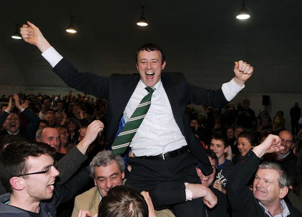 Aindrias Moynihan, Fianna Fail, celebrating after being elected in Cork North West constituency in the 2016 general election at Colaiste Choilm, Ballincollig.Picture: Denis Minihane.