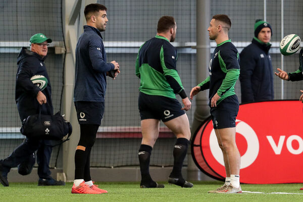 Conor Murray and John Cooney at Ireland training. Picture: INPHO/Laszlo Geczo