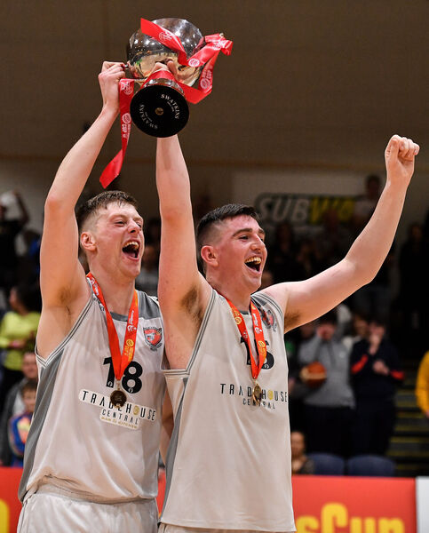 Ronan O'Sullivan, left, and Ciaran O'Sullivan celebrate with the cup. Picture: Brendan Moran/Sportsfile
