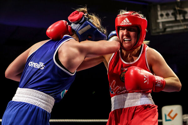 Christina Desmond (red) and Grainne Walsh (blue) in action last Friday night. Picture: INPHO/Laszlo Geczo