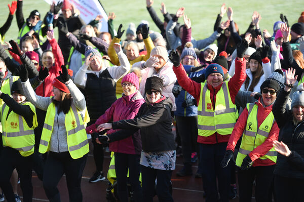 Participants doing the warm-up before the Operation Transformation walk at Cork IT, in dry frosty conditions on Saturday morning.Pic; Larry Cummins.