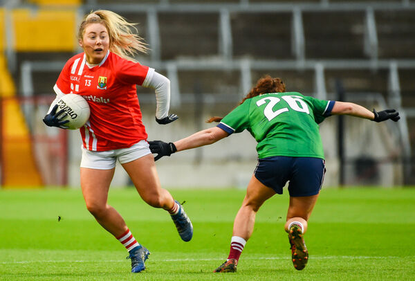 Sadhbh O'Leary of Cork in action against Tracy Dillon of Westmeath. Picture: Eóin Noonan/Sportsfile