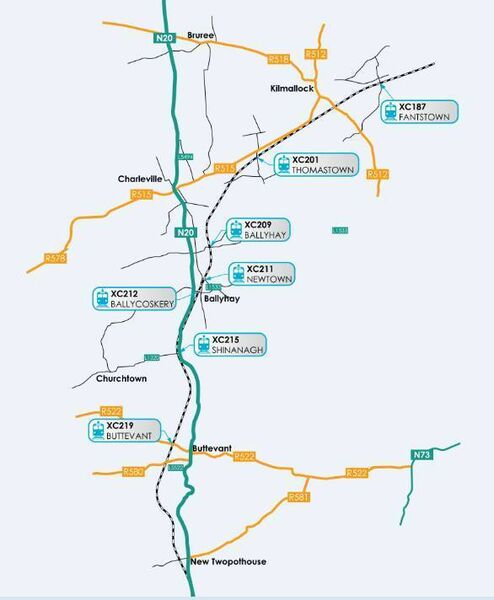 Irish Rail map showing the seven level crossings in Cork that could be closed or upgraded.