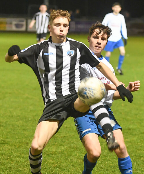 St Mary's Jake Lynch and Blarney United's Cian Connolly, tussle for possession during their FAI New Balance Youths Cup clash, at O'Shea Park.Picture: David Keane.