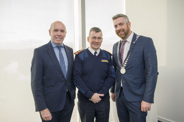 Garda Commissioner Drew Harris pictured with Tim Lucey, Chief Executive of Cork County Counci (L) and Mayor of County cork Cllr. Christopher O'Sullivan.Pic Daragh Mc Sweeney/Provision
