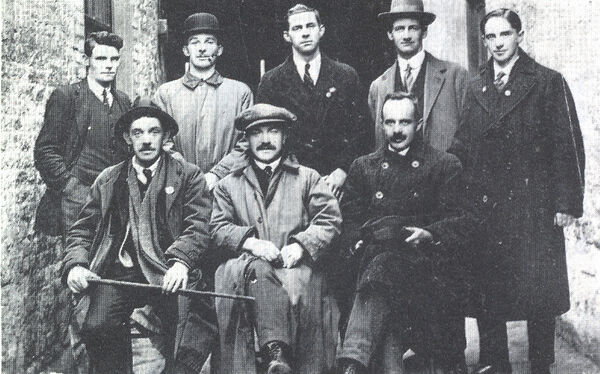 Cork IRA leaders in Cork in 1918, with Tomás Mac Curtain front centre