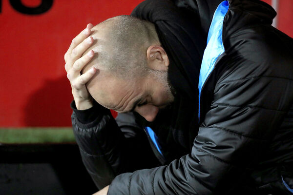 Manchester City manager Pep Guardiola reacts during their Premier League match against Sheffield United at Bramall Lane, Sheffield.The Catalan man thinks the FA should drop the Carabao Cup in order to give players time to recover from the hectic schedule in December and January. Picture: PA Photo