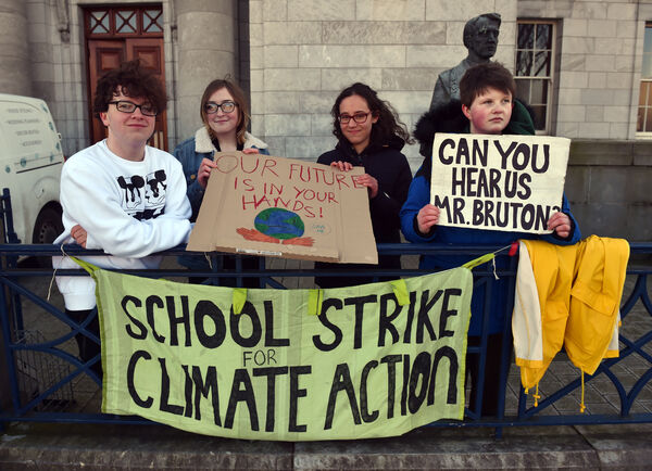 Pictured at City Hall, Cork were a group from Fridays For Future Cork, in February 2019, from left, Darragh Cotter, (16) Caoimhe Cotter, (14); Mira Hencki, (14) and Saoi O'Connor (16) Picture: Eddie O'Hare