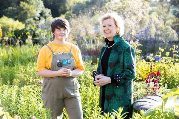 Climate activist Saoi O'Connor with Mary Robinson, UN Special Envoy on Climate Change in Bantry House.Pic Darragh Kane