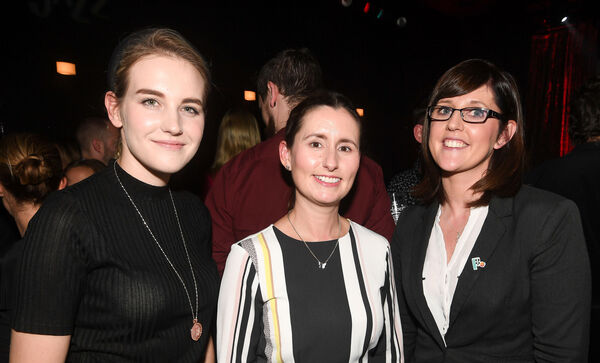 Laura O'Mahony, Maldron Hotel Shandon, Gillian Hennessy, Triskel Arts Centre and Samantha Stewart, Maldron Hotel St Mall, at the Guinness Cork Jazz Festival launch party at the Kino on Washington St, Cork.Picture: David Keane.